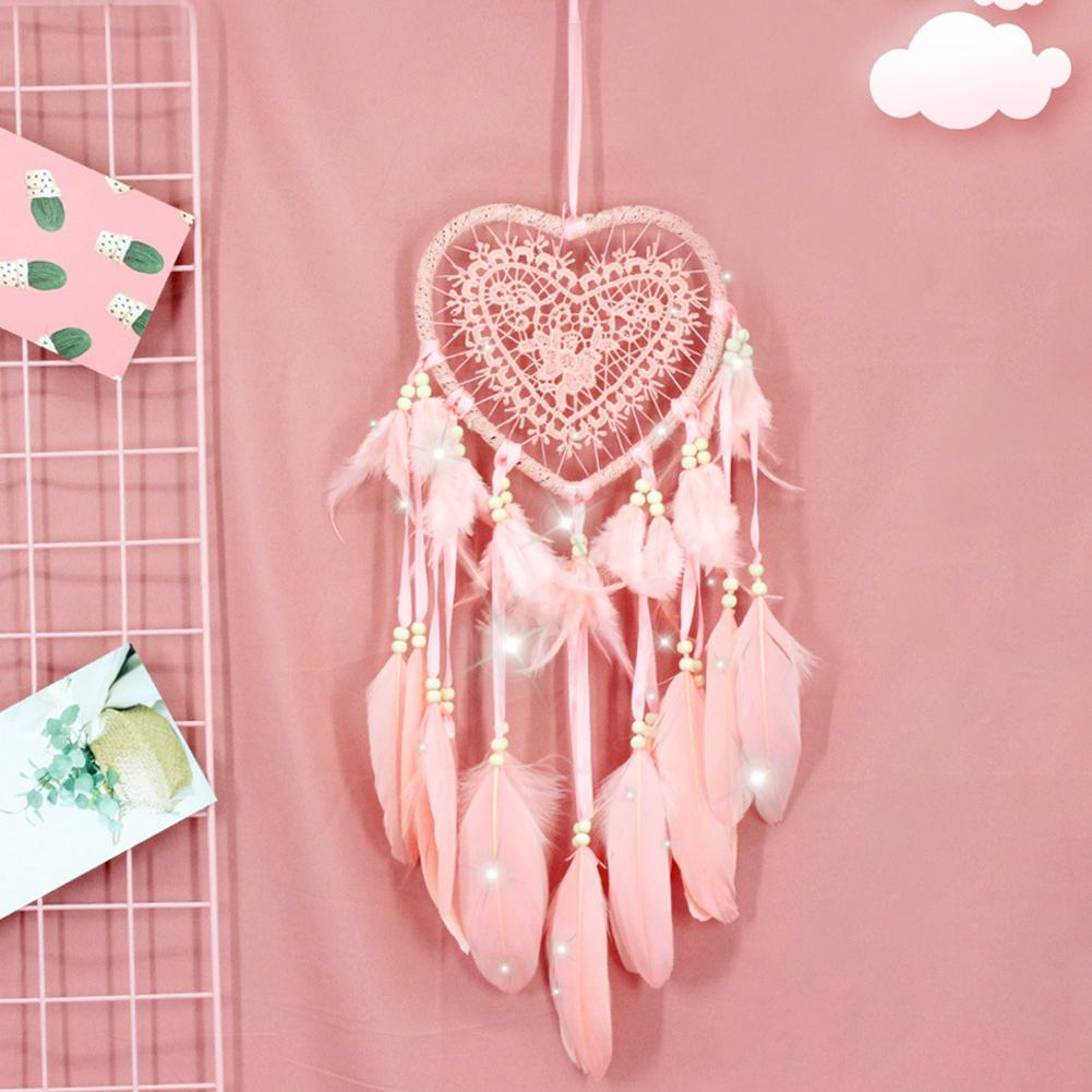 Handmade Dream Catcher with Feather Beads Wall Car Hanging Decor Ornament Pink