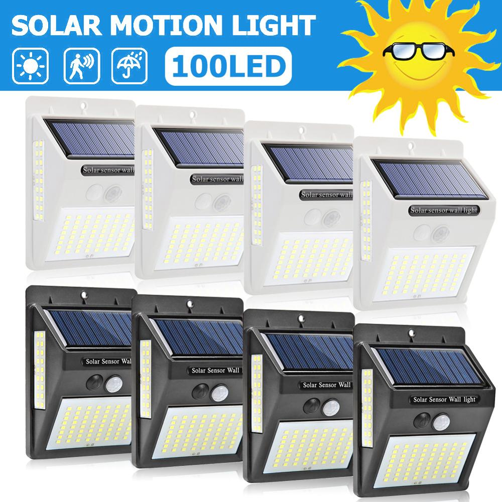 100 LED Solar Power Lamp PIR Motion Sensor Activated Solar Lamp Waterproof Outdoor Garden Security Wall Light