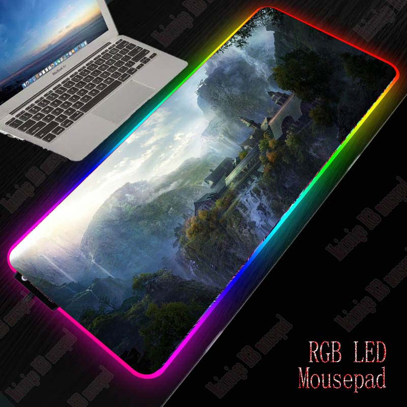 XGZ Lord of The Rings Scenery Gaming RGB Large Mouse Pad XXL Computer Mousepad Led Backlight Surface Mause Pad Keyboard Desk Mat 1
