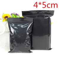 3000Pcs/Lot 4*5cm Zipper Top Package Pouch Black Color Zip Lock Resealable Ziplock Grip Seal Plastic Storage Packaging Bags