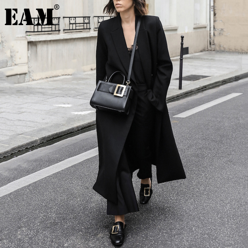 [EAM] Women Black Brief Long Big Size Temperament Trench New Lapel Long Sleeve Loose Fit Windbreaker Fashion Spring 2020 JX736