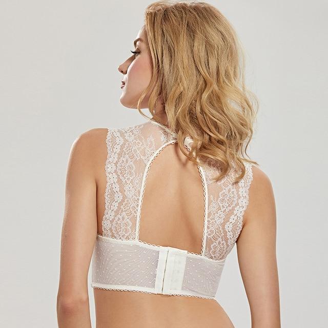 DOBREVA Women's Mesh Bustier High-neck Lightly Lined Underwired Bra Top 2