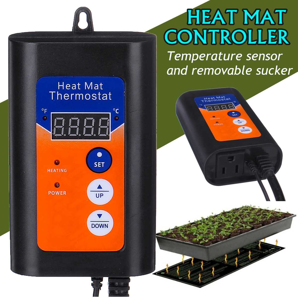 Digital Heat Mat Thermostat 120V 1000W Temperature Controller For Hydroponic Plants Seed Germination Reptiles Pets Supplies