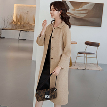 Womens coat 2019 winter new double-sided pure cashmere ladies loose long-sleeved woolen in the long thick wool
