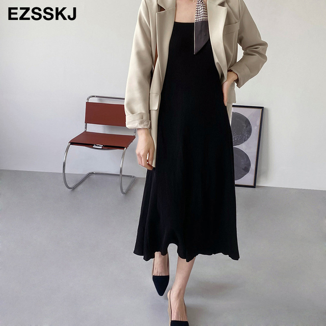 chic knit French V-neck A-line maix dress women female 2021 summer elegant  long dress robe dress 3