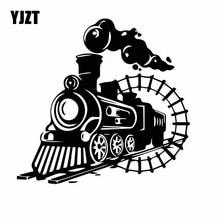 YJZT 17.8CM*17CM Delicate Smoke Billows Train Original Cartoon Vinly Decal Artist Decor Car Sticker Black/Silver C27-0943