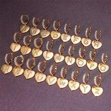 Dainty feminino carta de cristal A-Z brincos clássico ouro cor casamento brincos para as mulheres do vintage noiva amor coração hoop brincos