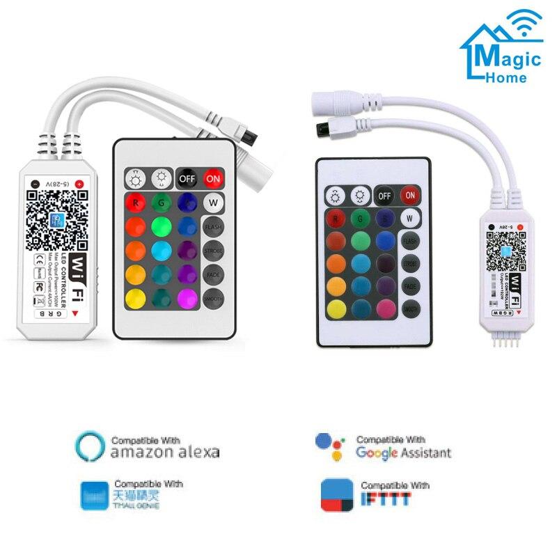 WiFi LED RGB/RGBW LED Strip Controller DC5V-28V 24Keys & RF Remote By IOS/Android Smart Phone For DC 5V 12V 24V LED Lamp Tape
