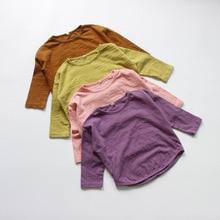 Осенние футболки для маленьких мальчиков и девочек повседневная детская одежда