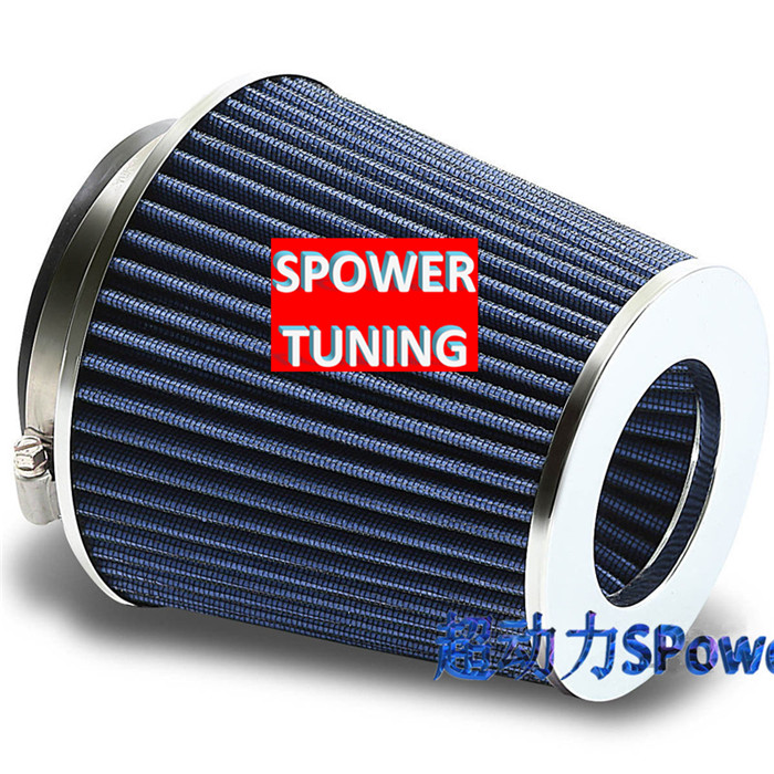 """89mm INLET HIGH POWER CONE AIR FILTER BLUE FIT 2.5/""""//2.75/""""//3/"""" PIPES"""