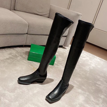 Knight Boots Heel Square Toe Low-Chunky Knee-High Genuine-Leather Fashion Riding Solid