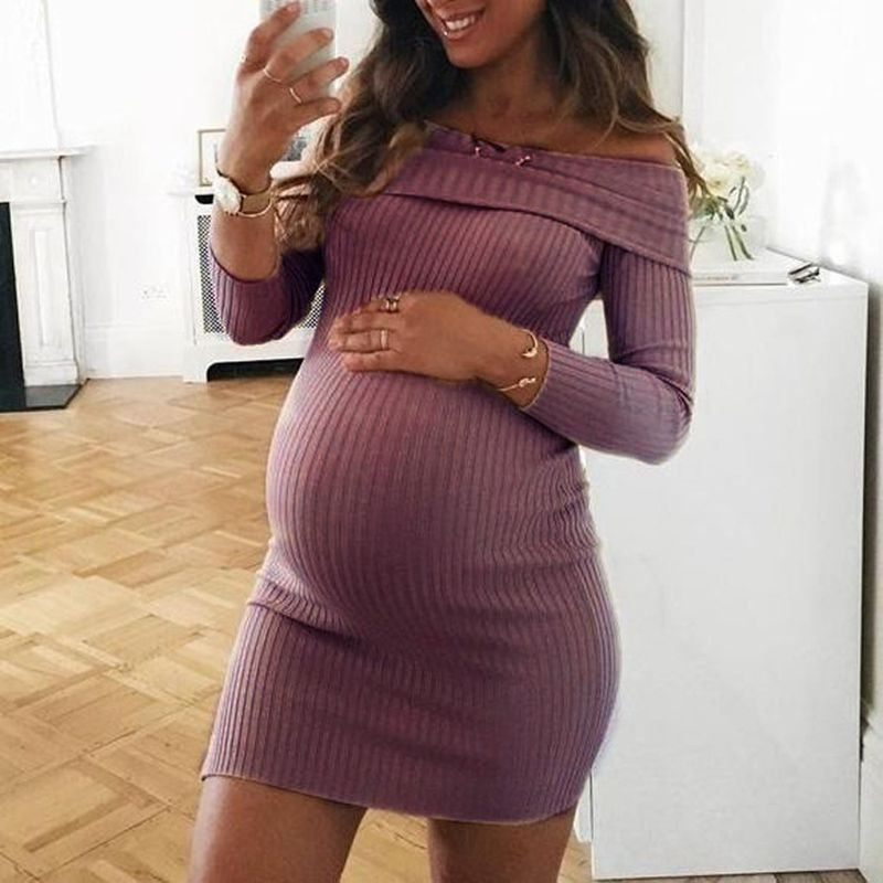 Pregnant Women Off Shoulder Bodycon Maternity Mini Dress Autumn Gravid Pregnancy Dresses Winter Vestidos