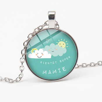 HOT! Super Mamie Pendant Necklace Funny Letters Quote Cartoon Printed Glass Cabochon Necklace Grandmother Family Gift Souvenir image