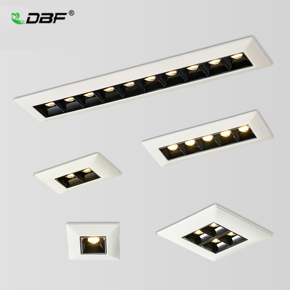 [DBF]Single Row Long Square LED Ceiling Spot Light Non Dimmable 2W 4W 10W 20W LED Recessed Downlight For Living Room Aisle Light