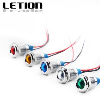 1 sztuk 12mm metalowy wskaźnik LED światła wodoodporna IP67 lampka sygnalizacyjna 6V 12V 24V 220V czerwony żółty niebieski zielony biały darmowa wysyłka tanie i dobre opinie YIHONG CN (pochodzenie) 220 v Kontrolki LETION12-D