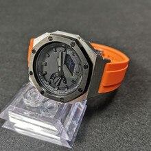 GA-2100/2110 pulseira de relógio com adaptador e metal bezel flúor borracha pulseira de relógio e caixa de relógio com ferramentas e parafusos