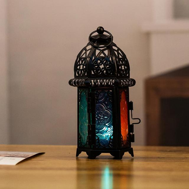 Vintage Moroccan Windproof Candle Holders Hanging Candle Lantern Iron Glass Votive Candlestick Wedding Decor Party Home 7*17cm 5