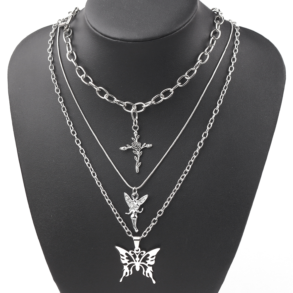 2019 3 Layers Hip Hop Cool Silver Color Cross Choker Necklaces For Women Simple Butterfly Angel Long Pendant Necklace Jewelry