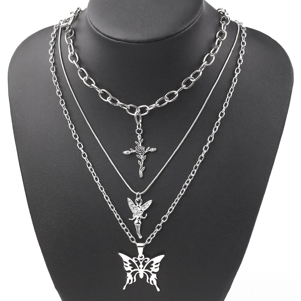 Женское колье с трехслойной подвеской, колье серебряного цвета с крестом в стиле хип-хоп, простое длинное ожерелье с подвеской-бабочкой и ан...