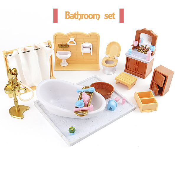 1:12 Set Suitable For Sylvanianed Families Character Toys Doll House Mini Bedroom Set Mini Living Room Furniture Toys Gift 8810