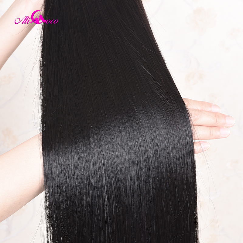 H925b156d896843579e523ed23172a9c4r Ali Coco 28 30 32 34 40 Inch Brazilian Straight Bundles With Lace Frontal Human Hair Bundles With Frontal Remy Hair Extensions