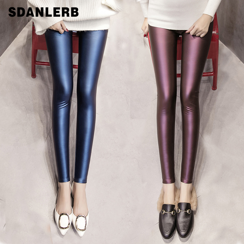 Autumn Winter Leather Legging Women Thin New High Waist Plush Thicken Elastic Trousers Pu Lether Leggins Mujer Leginsy