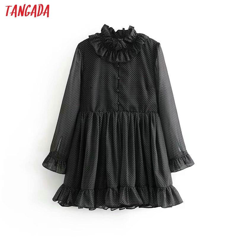 Tangada Women Black Dots Print Ruffles Dress Long Sleeve Vintage Casual Female Party Mini Dress 6P72