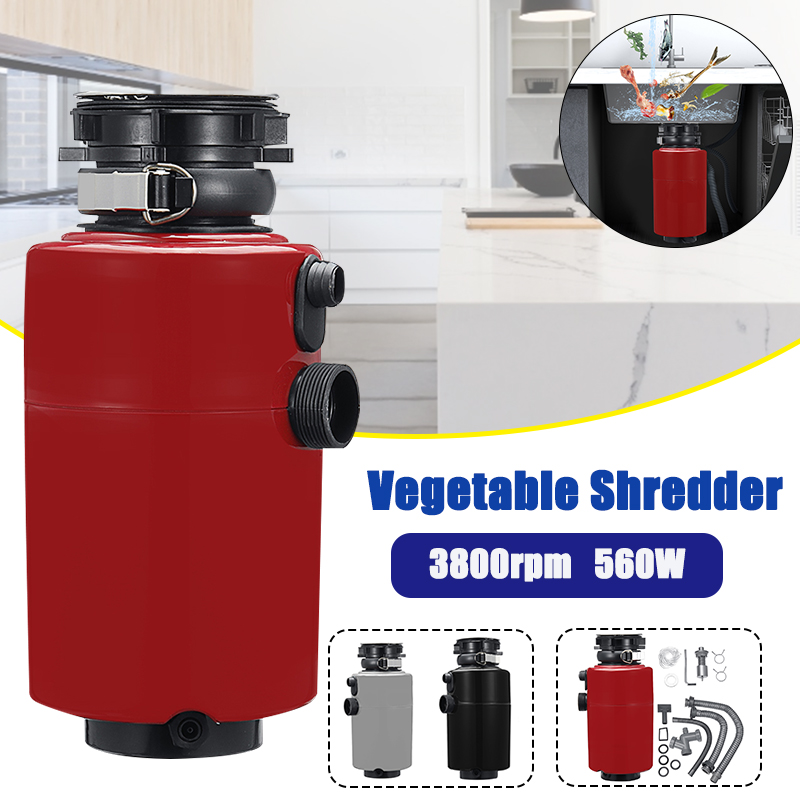 560W 900ml Kitchen Food Garbage Processor Disposal Crusher 3800rpm Stainless Steel Grinder Food Waste Disposer Air Switch 220V