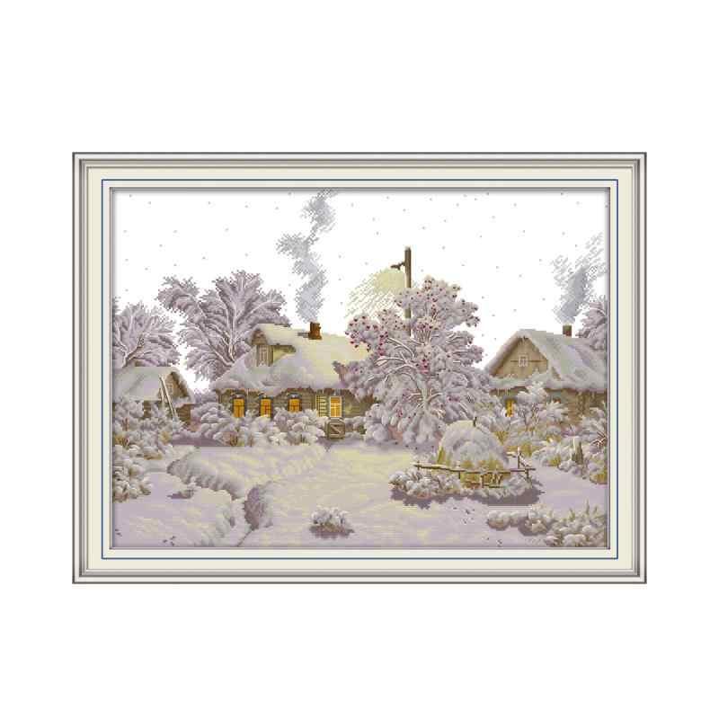 Inverno Villaggio Kit Punto Croce Aida 14ct 11ct Conteggio Stampa su Tela Croce Punti di Ricamo Ricamo a Mano Fai da Te
