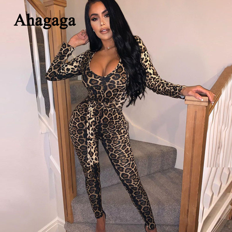 2019 Leopard Print Jumpsuits Women Fashion Long Sleeve V-neck Skinny Sexy Sashes Jumpsuit Fitness Playsuit Women Rompers Female