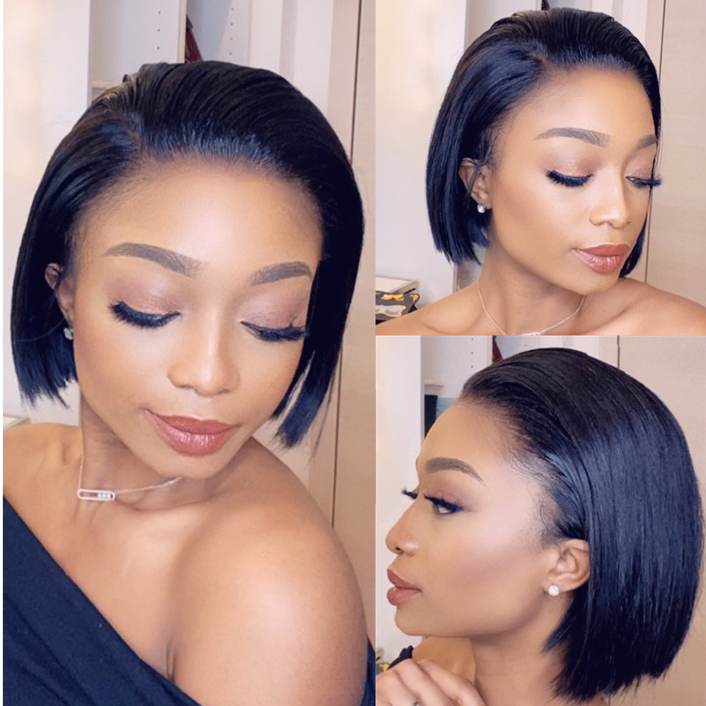 HD Transparent Lace Wigs Short Human Hair Wigs Bob 13x6 Lace Front Wig Skin Melt Lace Front Human Hair Wigs For Black Women 150
