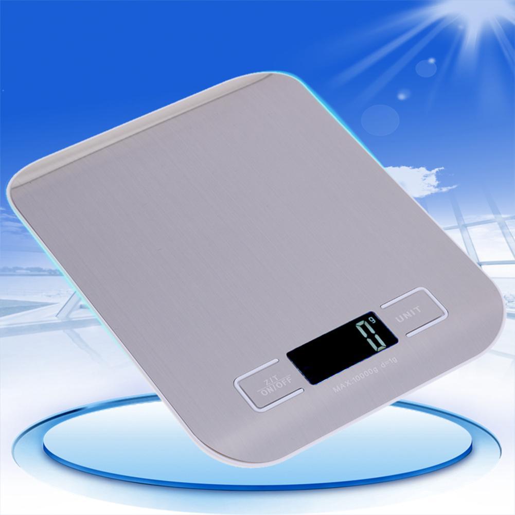 Цифровые кухонные весы с ЖК-дисплеем, 10 кг/1 г, точные пищевые весы из нержавеющей стали для приготовления пищи, электронные весы для выпечки-4