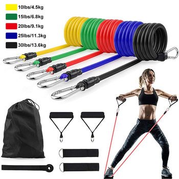 Латексные Эспандеры 11 шт./компл., тренировочные упражнения для кроссфита, трубки для йоги, резиновый эспандер, эластичные ленты, оборудовани...