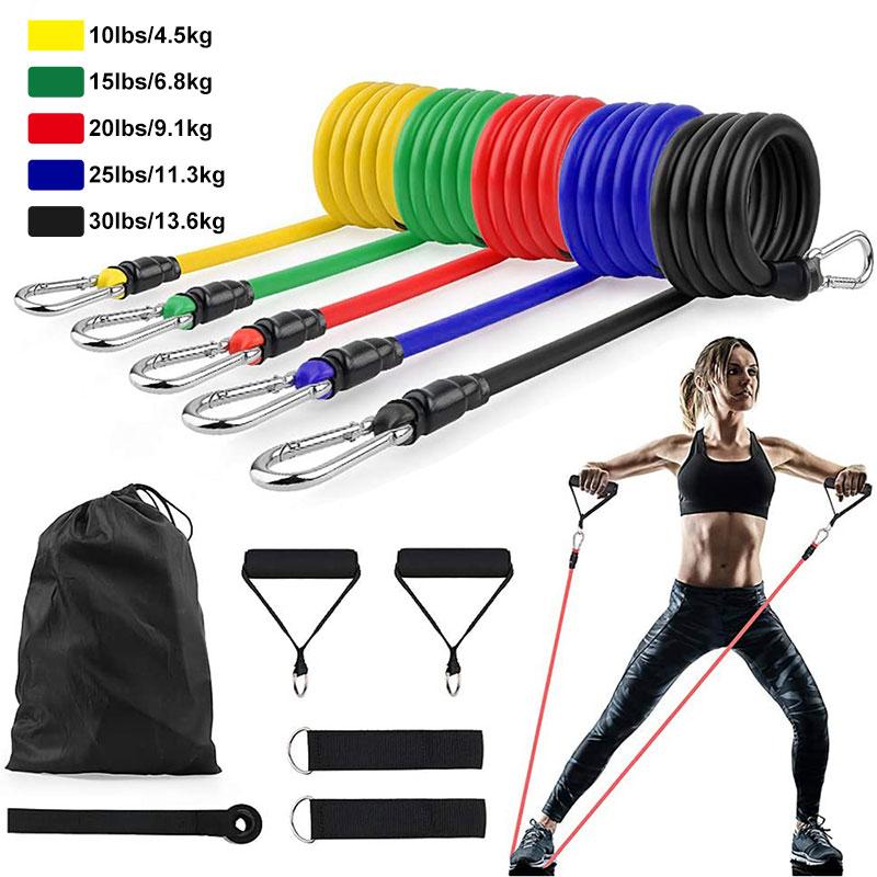 Латексные Эспандеры 11 шт./компл., тренировочные упражнения для кроссфита, трубки для йоги, резиновый эспандер, эластичные ленты, оборудование для фитнеса-0