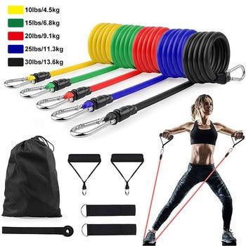 11 ədəd / set lateks müqavimət bantları crossfit məşq yoga boruları ip çəkin kauçuk genişləndirici elastik bantlar fitness avadanlığı