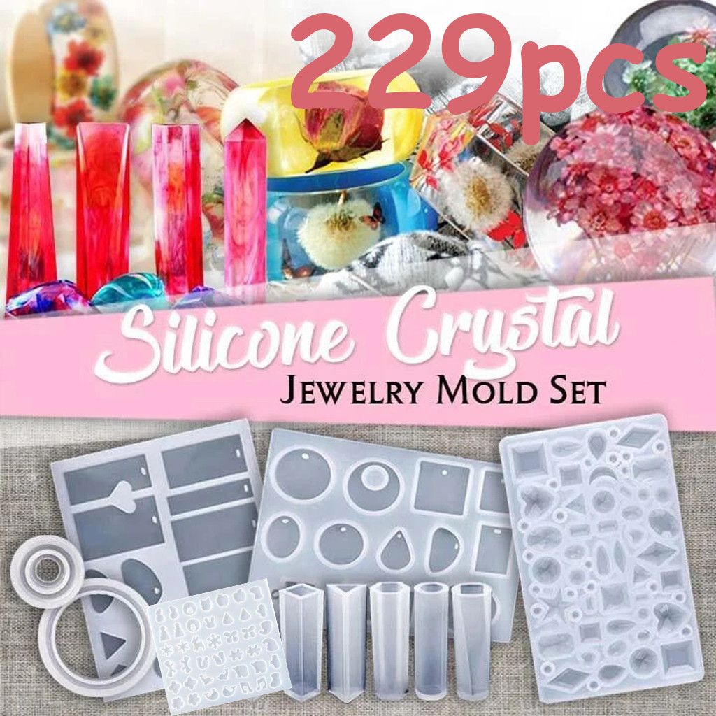 229pcsDIY Jewelry Crystal Glue Epoxy Glue Kit Bangle Pendant Jewelry Silicone Mold Home Decor