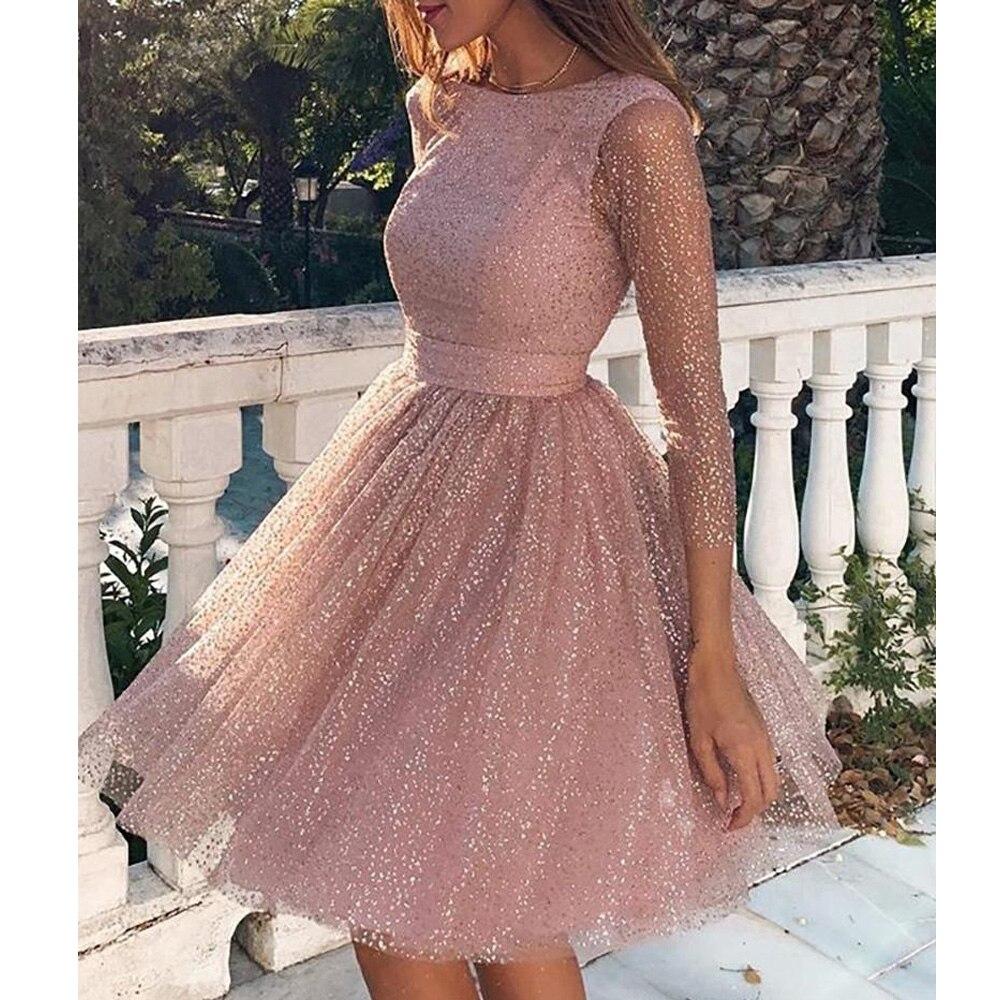 Missord 2019 femmes Sexy O cou à manches longues dos nu paillettes robes femme élégante robe plissée FT19668