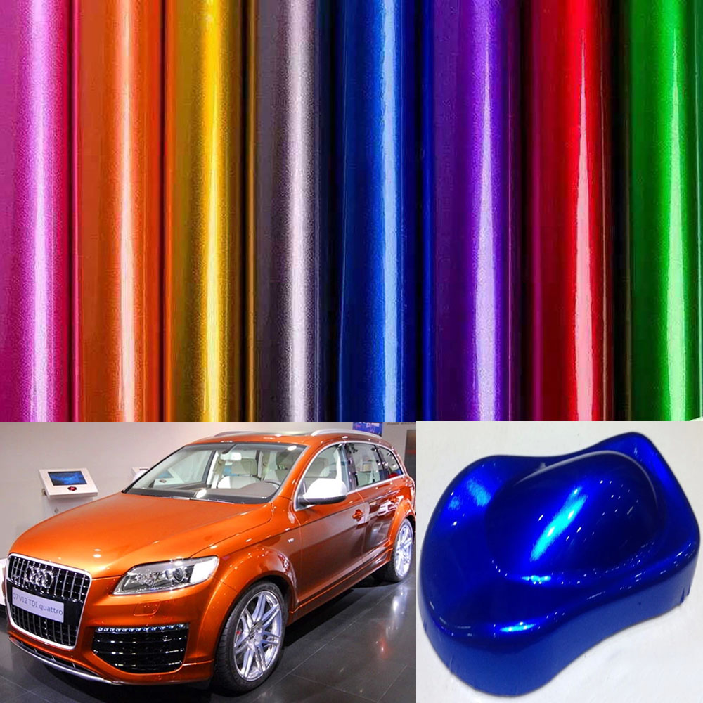 More Colors Glossy Metallic Pearl Glitter Blue Silver  Wrap Film With Air Free Bubbles With Size 1.52*5/10/15/20m/30m Per Roll