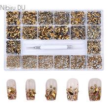10040Pcs Gold Nail Rhinestones 3D Decoration Glass Stone Flat back Nail Art Parts  Various Color Special Shaped Nail Accessories