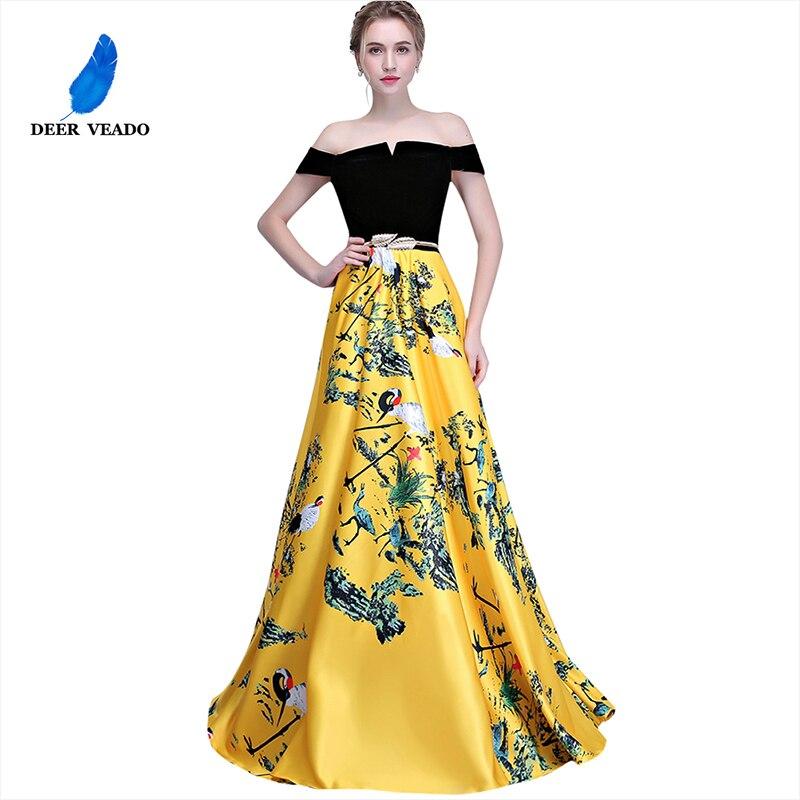 DEERVEADO Flower Pattern Evening Dress Long Prom Party Dresses Evening Gown Women Formal Occasion Dress Floor Length YS402
