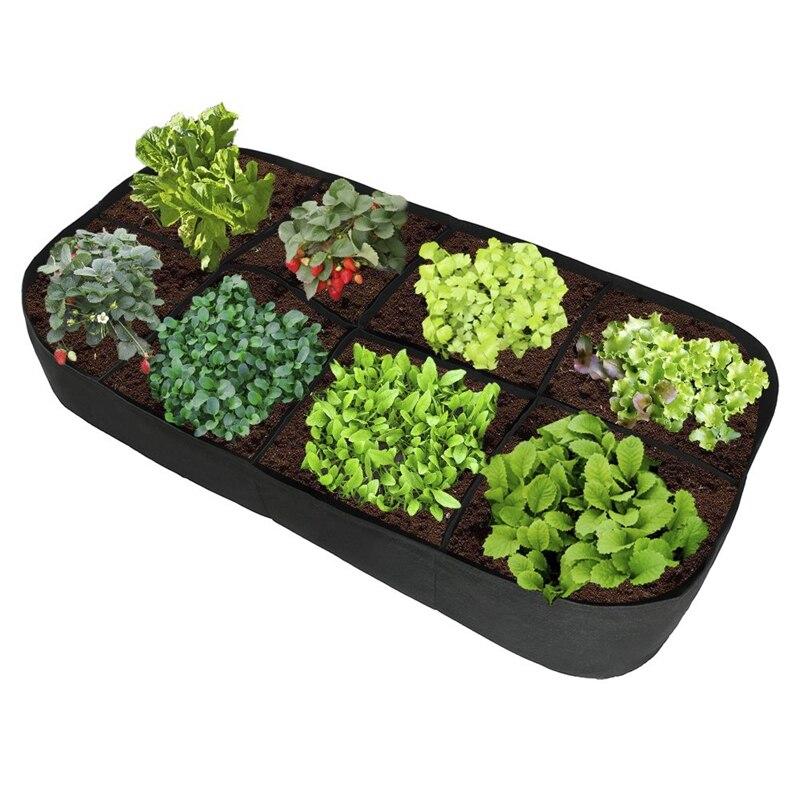 Ev ve Bahçe'ten Bitki Torbaları'de Kumaş bahçe bitki yatak  8 delikli dikdörtgen dikim konteyner bitki dikme çantası ekici saksı bitki  çiçek  sebze bitki dikme çantası title=