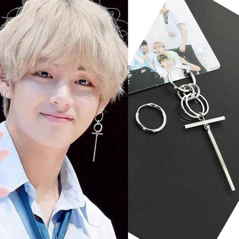 SMJEL BTS Earrings DNA Korean Fashion Long Men Bangtan Boys V DNA Stud Earring For Women Men Kpop Earings Friendship Gifts