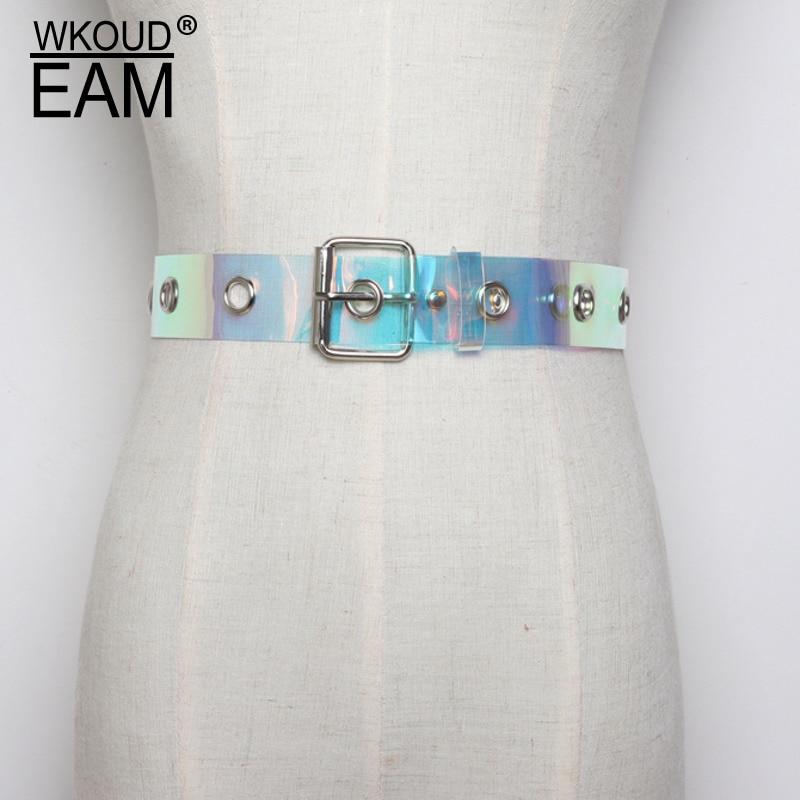 WKOUD EAM 2020 New Metal Buckle PVC Transparent Magic Color Corset Belt For Women Fashion Waistband Female Tide PF112