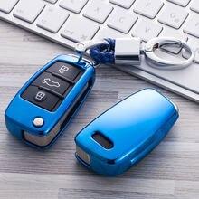 TPU araba anahtarı durum anahtar kapak koruma Audi Q7 C6 A7 A8 R8 A1 A3 A4 A5 kabuk araba araba-styling aksesuarları için araba anahtarı durum için