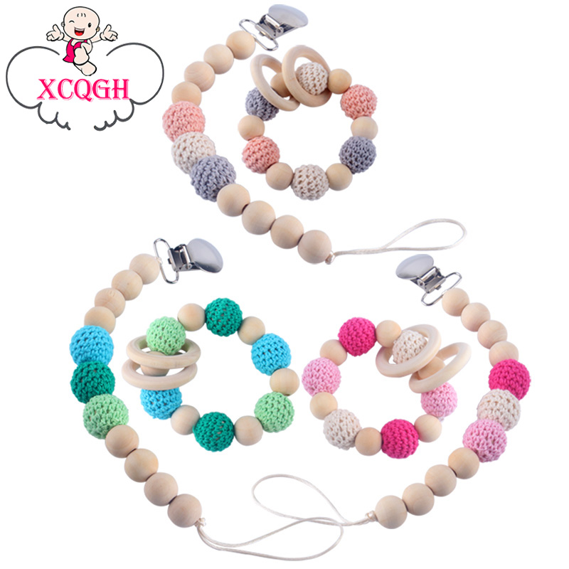NEW 1x  safety Wooden Baby pacifier chain Crochet Round beads Baby Feeding Clips