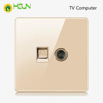 High-grade 1 2 3 4 gang 1 2 way big panel Golden switch socket Type 86 Wall 2.5D Cambered Mirror Toughened glass Computer TV 19