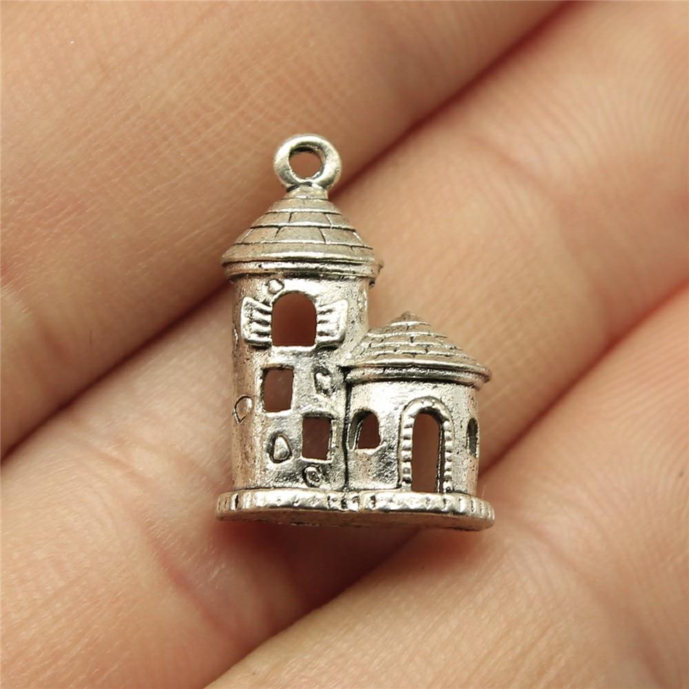 Wysiwyg 8 pçs 18x13mm casa castelo charme pingentes para fazer jóias antigo prata cor casa castelo pingentes