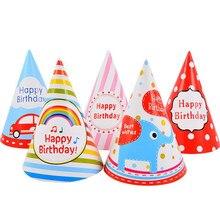 10pcs Happy Birthday Party Hats Cartoon Polka Dot DIY Cute Handmade Paper Cap Child Crown Colorful Hat Decoration