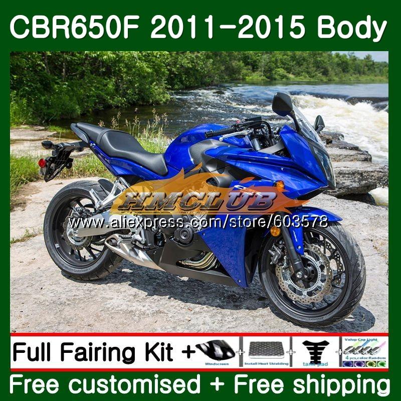 CBR-650F Pour HONDA CBR 650F 650 F 2011 2012 2013 2014 2015 130CL. 18 CBR650 F CBR-650 CBR650F 11 12 13 14 15 Carénage bleu Brillant