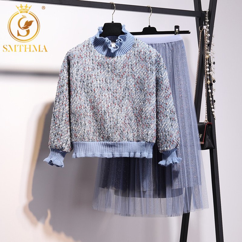 SMTHMA 2019 Autumn Winter New Women Wool Pullover Long Sleeve Tweed Weave Top+High Waist Pleated Long Mesh Skirt 2 Piece Sets
